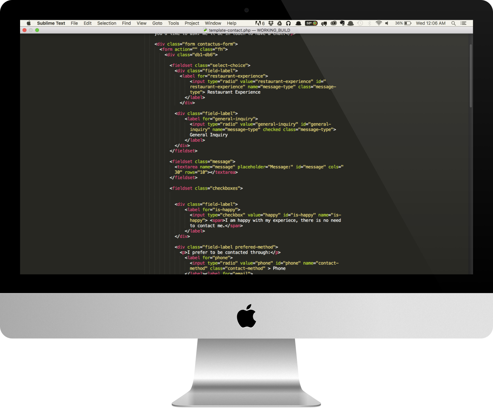 Code being viewed on an iMac